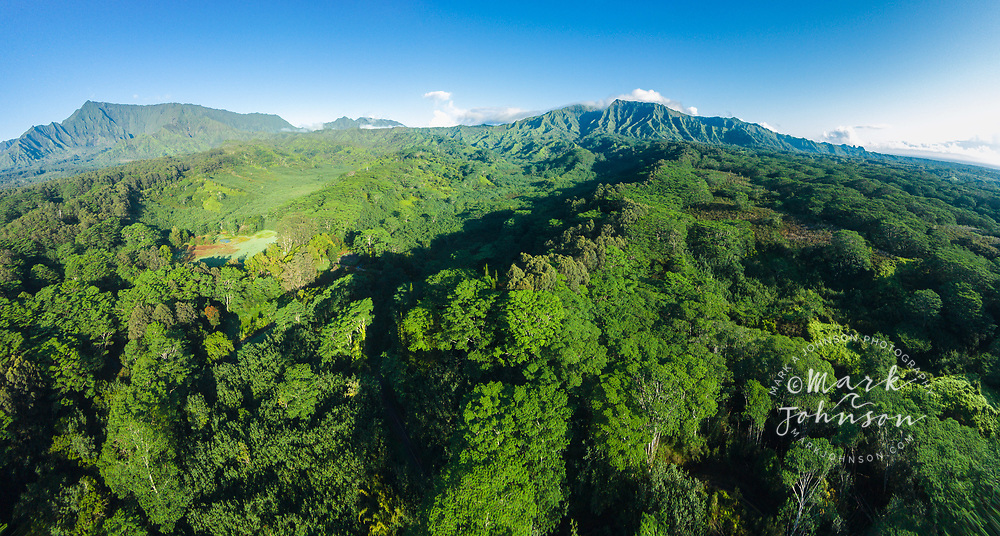 Aerial panorama photograph of Mts Waialeale & Makalea, Wailua, Kauai, Hawaii