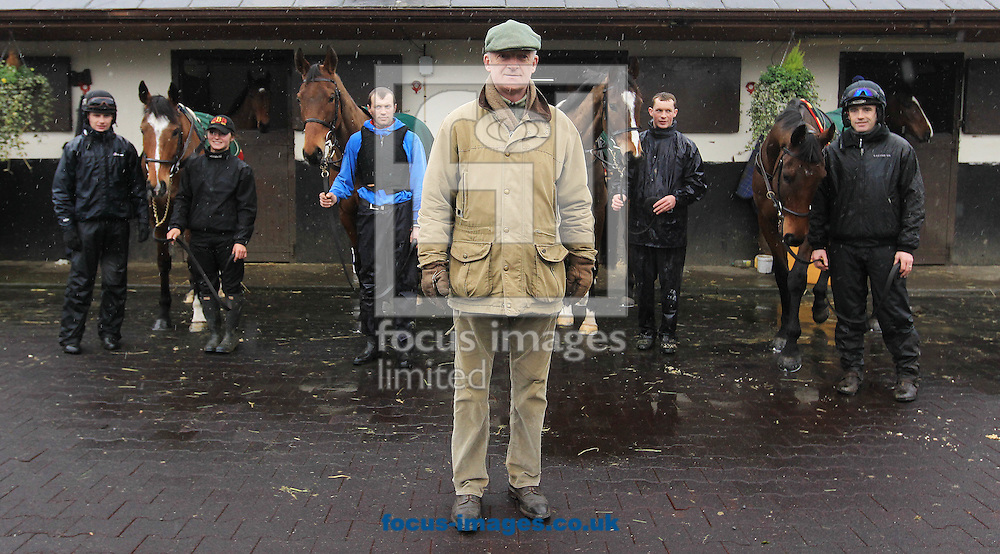 Gigginstown House Stud, owned by Ryanair CEO Michael O&rsquo;Leary, has withdrawn their string from Irish trainer Willie Mullins after he raised his fees for the first time in ten years.<br /> Among the sixty or so horses being found new homes are National Hunt successes such as Apple's Jade, Don Poli, Blow By Blow, Valseur Lido, Outlander and Roi Des Francs.<br /> Picture by Focus Images/Focus Images Ltd 07814 482222<br /> 28/09/2016<br /> <br /> Original Caption:<br /> <br /> Trainer Willie Mullins and jockey Ruby Walsh (far right) with his Gold Cup horses Don Poli, Valseur Lido, Vautour and Djakadam during the pre-Cheltenham yard visit at the Willie Mullins Yard, Closutton, Ireland.<br /> Picture by Focus Images/Focus Images Ltd 07814 482222<br /> 29/02/2016