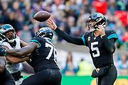 Jacksonville Jaguars Blake Bortles QB (5) in action during the International Series match between Jacksonville Jaguars and Philadelphia Eagles at Wembley Stadium, London, England on 28 October 2018.