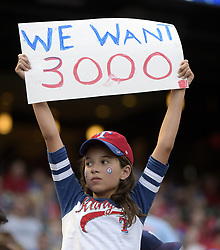 July 28, 2017 - Arlington, TX, USA - A young Texas Rangers fan hopes for a milestone for third baseman Adrian Beltre, who seeks his 3,000 hit on Friday, July 28, 2017, against the Baltimore Orioles at Globe Life Park in Arlington, Texas. (Credit Image: © Max Faulkner/TNS via ZUMA Wire)