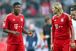 29.10.2011, Allianz Arena, Muenchen, GER, 1.FBL,  FC Bayern Muenchen vs 1. FC Nuernberg, im Bild David Alaba (Bayern #27) diskutiert mit Anatoliy Tymoshchuk (Bayern #44)  // during the match FC Bayern Muenchen vs 1. FC Nuernberg, on 2011/10/29, Allianz Arena, Munich, Germany, EXPA Pictures © 2011, PhotoCredit: EXPA/ nph/  Straubmeier       ****** out of GER / CRO  / BEL ******