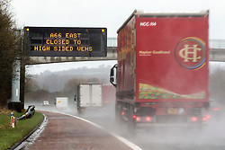 © Licensed to London News Pictures. 27/01/2016.  Penrith UK. Drivers are being urged to take extra care on roads today in Cumbria as Storm Jonas continues to batter the county. Photo credit: Andrew McCaren/LNP
