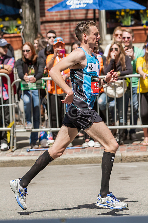 2014 Boston Marathon: turn onto Boylston Street with quarter mile to go, Kevin Johnson