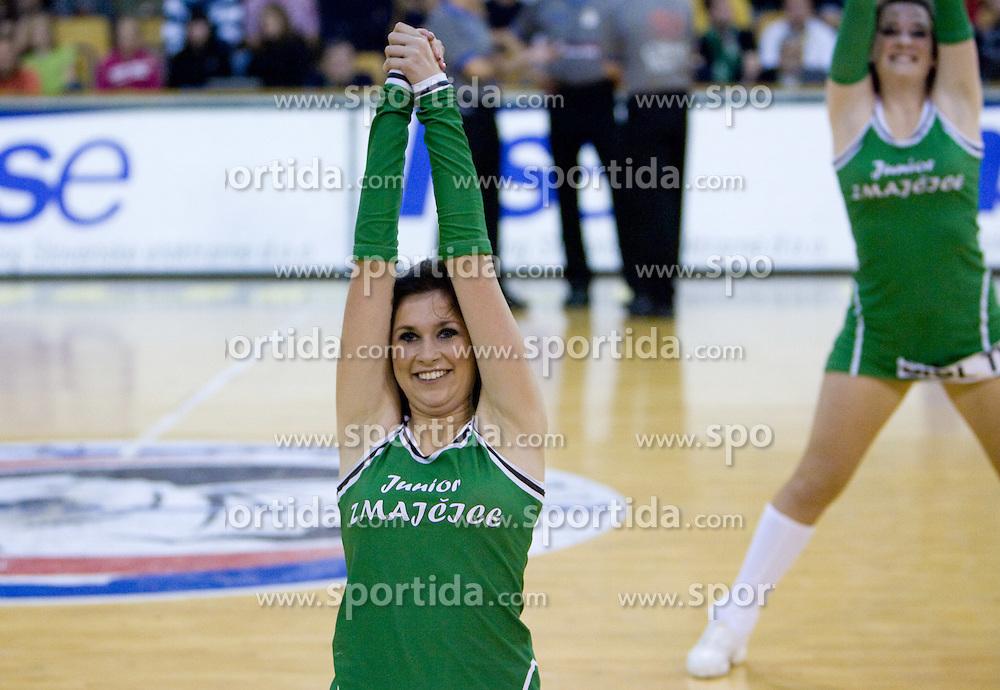 Junior Dragon Ladies dance at third finals basketball match of Slovenian Men UPC League between KK Union Olimpija and KK Helios Domzale, on June 2, 2009, in Arena Tivoli, Ljubljana, Slovenia. Union Olimpija won 69:58 and became Slovenian National Champion for the season 2008/2009. (Photo by Vid Ponikvar / Sportida)