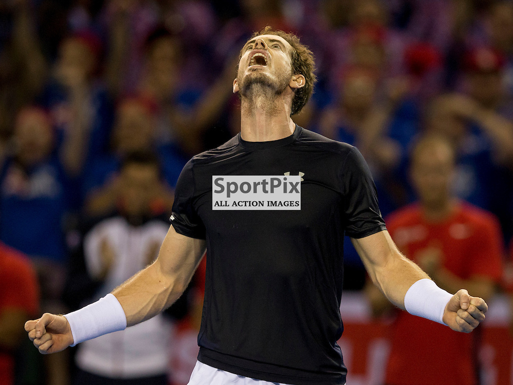 Davis Cup semi-final: Great Britain v Australia<br /> <br /> Andy Murray celebrates win over Bernard Tomic after Sunday's first Rubber.<br /> <br /> GB Wins the Semi Final <br /> <br /> <br /> Picture: Alan Rennie