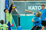 Katowice, Poland - 2017 September 02: (R) Athlete Martin Chocholousek from SO Czech Republic spikes the ball while SO Russia versus SO Czech Republic semifinal match during European Unified Volleyball Tournament 2017 at Spodek Hall on September 02, 2017 in Katowice, Poland.<br /> <br /> Adam Nurkiewicz declares that he has no rights to the image of people at the photographs of his authorship.<br /> <br /> Picture also available in RAW (NEF) or TIFF format on special request.<br /> <br /> Any editorial, commercial or promotional use requires written permission from the author of image.<br /> <br /> Image can be used in the press when the method of use and the signature does not hurt people on the picture.<br /> <br /> Mandatory credit:<br /> Photo by &copy; Adam Nurkiewicz / Mediasport