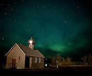 Photo Randy Vanderveen.Woking , Alberta.05/04/10.The northern lights (aurora borealis) colour the Peace Country sky behind a church on the eastern outskirts of Woking late Monday night. This past week has been a good one to view the night-time displays.