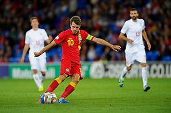 Aaron Ramsey of Wales (Arsenal) shoots during the second half of the match - Photo mandatory by-line: Rogan Thomson/JMP - Tel: Mobile: 07966 386802 10/09/2013 - SPORT - FOOTBALL - Cardiff City Stadium - Cardiff -  Wales V Serbia- World Cup Qualifier.