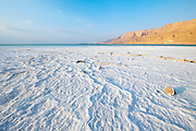 Salt formation caused by the evaporation of the water on the shore of the Dead Sea, Israel