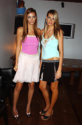 Left to right, MISS ROSE HANBURY and MISS CAMILLA SIMON at a party to view the designs of Jessica Simon at the beginning of London Fashion Week held at The Electric Cinema, Portabello Road, London on 19th September 2004.<br />