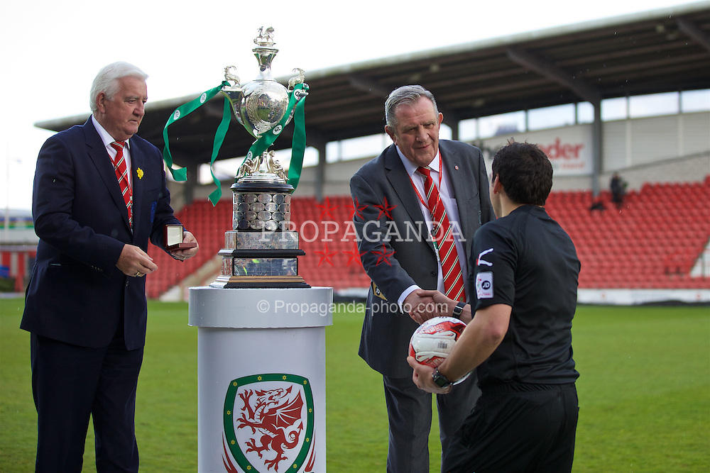 WREXHAM, WALES - Monday, May 2, 2016: FAW life vice president Phil Pritchard and Dai Alun Jones with referee Bryn Markham Jones during the 129th Welsh Cup Final at the Racecourse Ground. (Pic by David Rawcliffe/Propaganda)