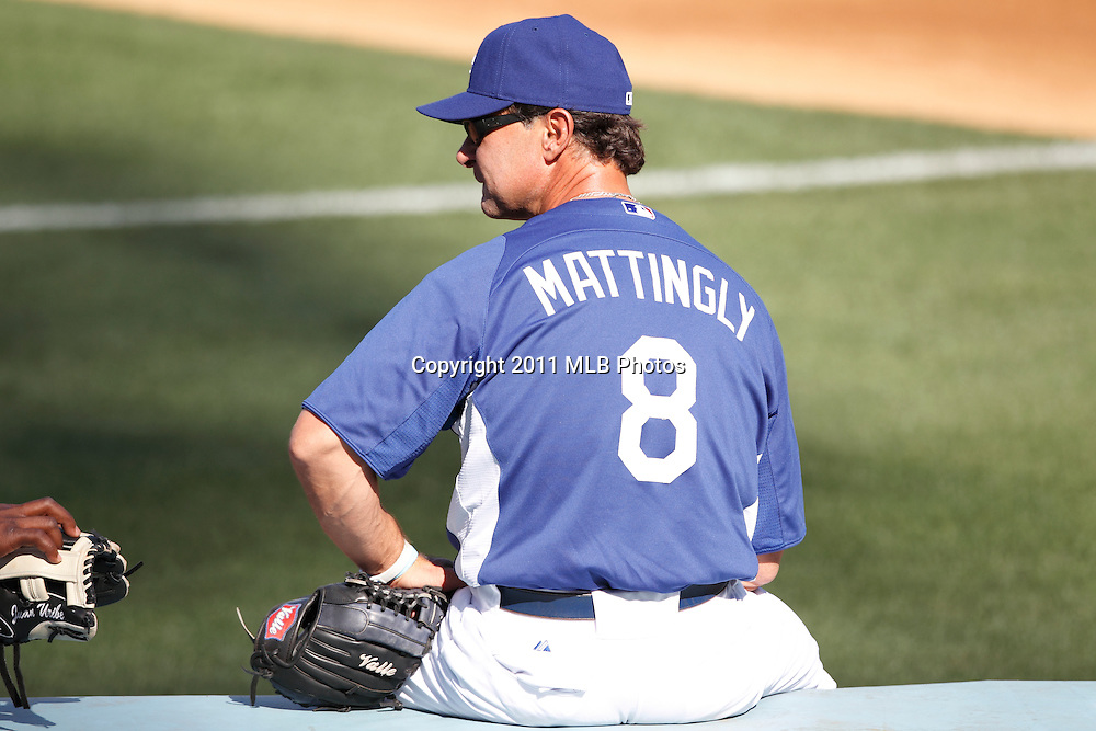 LOS ANGELES, CA - APRIL 15:  Manager Don Mattingly #8 of the Los Angeles Dodgers looks on during batting practice at the game between the St. Louis Cardinals and the Los Angeles Dodgers on Friday April 15, 2011 at Dodger Stadium in Los Angeles, California. (Photo by Paul Spinelli/MLB Photos via Getty Images) *** Local Caption *** Don Mattingly