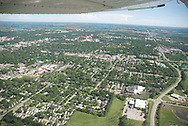 aerial image of Lawrence, KS, looking north