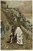 Jesus casting devils out of kneeling man, and putting them into Gaderine Swine who plunge over the cliff as if possessed. From JJ Tissot 'Life of our Saviour Jesus Christ' c1890. Oleograph