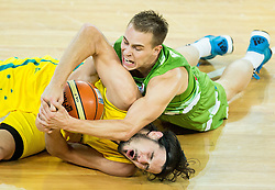 Chris Goulding of Australia fight for a ball with Klemen Prepelic of Slovenia during friendly basketball match between National teams of Slovenia and Australia, on August 4, 2015 in Arena Stozice, Ljubljana, Slovenia. Photo by Vid Ponikvar / Sportida