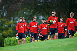 CARDIFF, WALES - Friday, September 2, 2016: Wales' Joe Allen and Hal Robson-Kanu during a training session at the Vale Resort ahead of the 2018 FIFA World Cup Qualifying Group D match against Moldova. (Pic by David Rawcliffe/Propaganda)