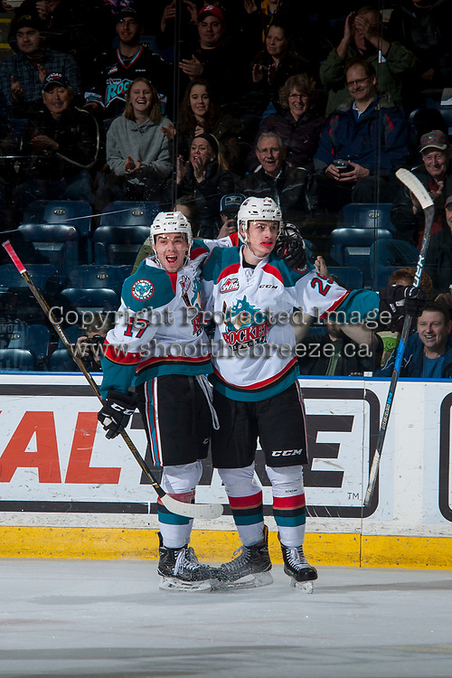 KELOWNA, CANADA - MARCH 7: Rodney Southam #17 and Nolan Foote #29 of the Kelowna Rockets celebrate a first period goal on March 7, 2017 at Prospera Place in Kelowna, British Columbia, Canada.  (Photo by Marissa Baecker/Shoot the Breeze)  *** Local Caption ***