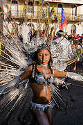 Colourful costumed, pretty woman. Carnival. Mindelo. Cabo Verde. Africa.