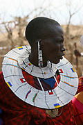 Portrait of a Maasai Woman. Maasai is an ethnic group of semi-nomadic people. Photographed in Tanzania