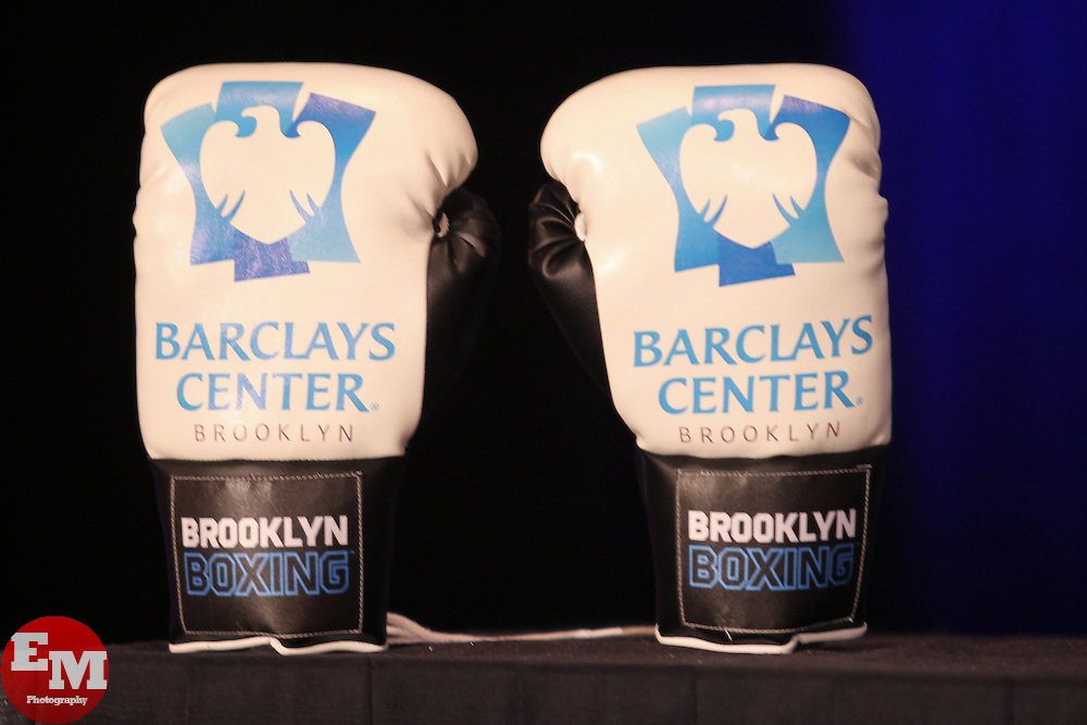 Aug 30, 2012; Brooklyn, NY, USA; Atmosphere from the press conference at New York Marriott at the Brooklyn Bridge. The press conference announced the upcoming October 20th card at the Barclay's Center.