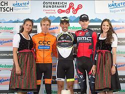 08.07.2015, Villach, AUT, Österreich Radrundfahrt, 4. Etappe, Gratwein Stift Rein nach Villacher Alpenstraße am Dobratsch, im Bild v.l. Jan Hirt (CZE, 2. Platz Etappe), Victor Gonzalez de la Parte (ESP, 1. Platz Etappe), Ben Hermans (BEL, 3. Platz Etappe) // f.l.t.r. 2nd Place stage Jan Hirt of Czech Republik 1st place stage Victor Gonzalez de la Parteof Spain 3rd place stage Ben Hermans of Belgium during the Tour of Austria, 4rd Stage, from Gratwein Stift Rein to Villacher Alpenstrasse at Dobratsch, Villach, Austria on 2015/07/08. EXPA Pictures © 2015, PhotoCredit: EXPA/ Reinhard Eisenbauer