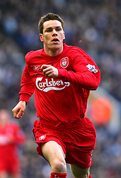 BIRMINGHAM, ENGLAND - SATURDAY FEBRUARY 12th 2005: Liverpool's Steve Finnan in action against Birmingham during the Premiership match at St. Andrews (Pic by David Rawcliffe/Propaganda)
