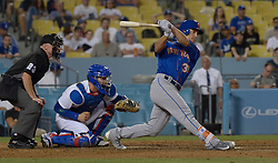 June 22, 2017 - Los Angeles, California, U.S. - New York Mets' Michael Conforto along with Los Angeles Dodgers catcher Yasmani Grandal and home plate umpire Lance Barksdale (23) during a Major League baseball game against the New York Mets at Dodger Stadium on Wednesday, June 21, 2017 in Los Angeles. Los Angeles. (Photo by Keith Birmingham, Pasadena Star-News/SCNG) (Credit Image: © San Gabriel Valley Tribune via ZUMA Wire)