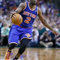 28 April 2013: New York Knicks point guard Raymond Felton (2) dribbles during Boston Celtics overtime 97-90 victory over the New York Knicks during Game Four of the Eastern Conference Quarterfinals of the 2013 NBA Playoffs at the TD Garden, Boston, Massachusetts, USA.