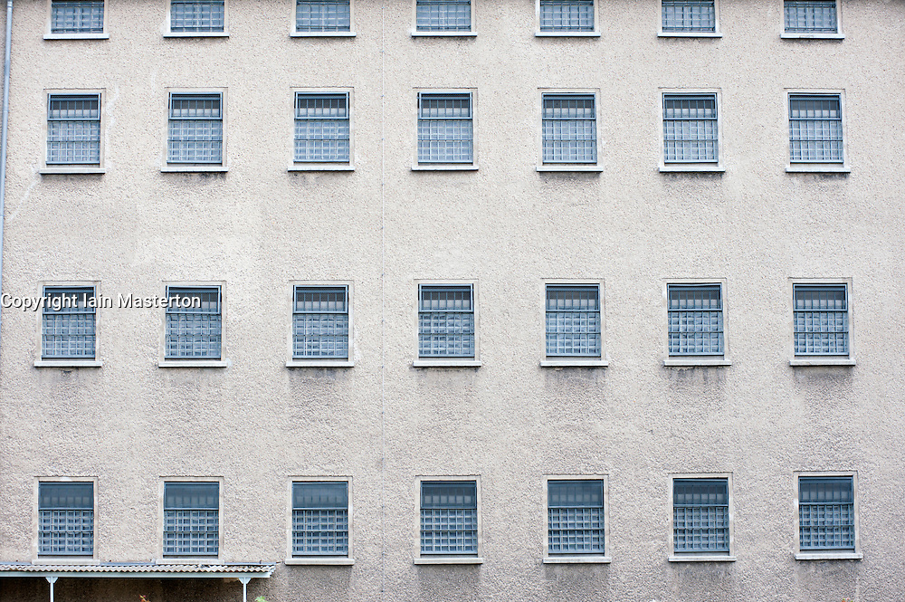 Cell windows at the former East German state secret security police or STASI prison at Hohenschönhausen in Berlin Germany