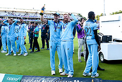 Chris Woakes of England and Jonny Bairstow of England celebrate winning the ICC Cricket World Cup - Mandatory by-line: Robbie Stephenson/JMP - 14/07/2019 - CRICKET - Lords - London, England - England v New Zealand - ICC Cricket World Cup 2019 - Final
