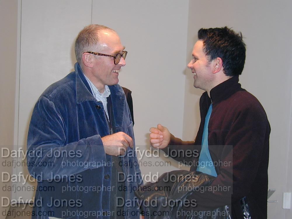 Richard Wentworth and Peter Berwick. Rodney Graham. ' What is Happy, baby?' Lisson Gallery. London. 7 December 2000 © Copyright Photograph by Dafydd Jones 66 Stockwell Park Rd. London SW9 0DA Tel 020 7733 0108 www.dafjones.com
