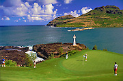 Kauai Hawaii, golf, Ocean,  water, pond, green, flag, flagstick, golf hole, activity, Kauai Lagoons - Kiele, Golf Course, Hawaii