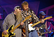 Dusty Hill,ZZ Topp &amp; Ronnie Dunn,Brooks and Dunn during rehearsals at the first ever CMT Flameworthy Video Music Awards at the Gaylord Entertainment Center in Nashville Tennesee. 6/12/02<br /> Photo by Rick Diamond/PictureGroup.