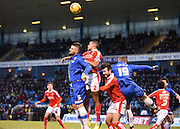 Gillingham defender Max Ehmer and Swindon defender Nathan Thompson fight for the ball in the air during the Sky Bet League 1 match between Gillingham and Swindon Town at the MEMS Priestfield Stadium, Gillingham, England on 6 February 2016. Photo by David Charbit.