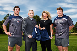 Bristol Rugby players Marc Jones (L) and Kyle Traynor (R) pose with a representative of sponsor Bristol Audi as well as Suzanne Roper, Head of Commercial Partnerships for Bristol Sport - Mandatory byline: Rogan Thomson/JMP - 07966 386802 - 18/08/2015 - RUGBY UNION - Clifton Rugby Club - Bristol, England - Bristol Rugby Sponsor Photos.
