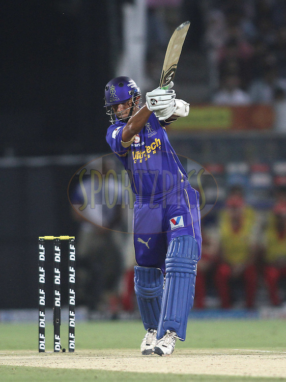 Rajasthan Royals captain Rahul Dravid drives a delivery during match 30 of the the Indian Premier League (IPL) 2012  between The Rajasthan Royals and the Royal Challengers Bangalore held at the Sawai Mansingh Stadium in Jaipur on the 23rd April 2012..Photo by Shaun Roy/IPL/SPORTZPICS