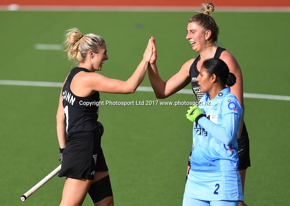 Rachel McCann celebrates her goal with Olivia Merry.<br /> Vantage Black Sticks Women vs India. International Hockey. Gallagher Hockey Centre. Hamilton. New Zealand. Friday 19 May 2017 &copy; Copyright Photo: Andrew Cornaga / www.photosport.nz