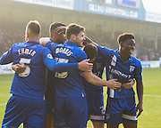 Gillingham players celebrate the second goal (2-0), (an own goal by Crewe defender Jon Guthrie) during the Sky Bet League 1 match between Gillingham and Crewe Alexandra at the MEMS Priestfield Stadium, Gillingham, England on 12 March 2016. Photo by David Charbit.