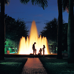 Solomon G. Merrick Building fountain at night