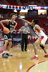 07 January 2018:  Jarrid Rhodes is defended by Madison Williams with Kipp Kissinger looking on during a College mens basketball game between the Missouri State Bears and Illinois State Redbirds in Redbird Arena, Normal IL