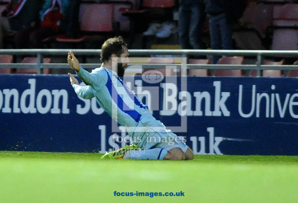 Jim O'Brien of Coventry City celebrates scoring the equaliser late in the game to get a 2-2 draw during the Sky Bet League 1 match at the Matchroom Stadium, London<br /> Picture by Alan Stanford/Focus Images Ltd +44 7915 056117<br /> 01/11/2014