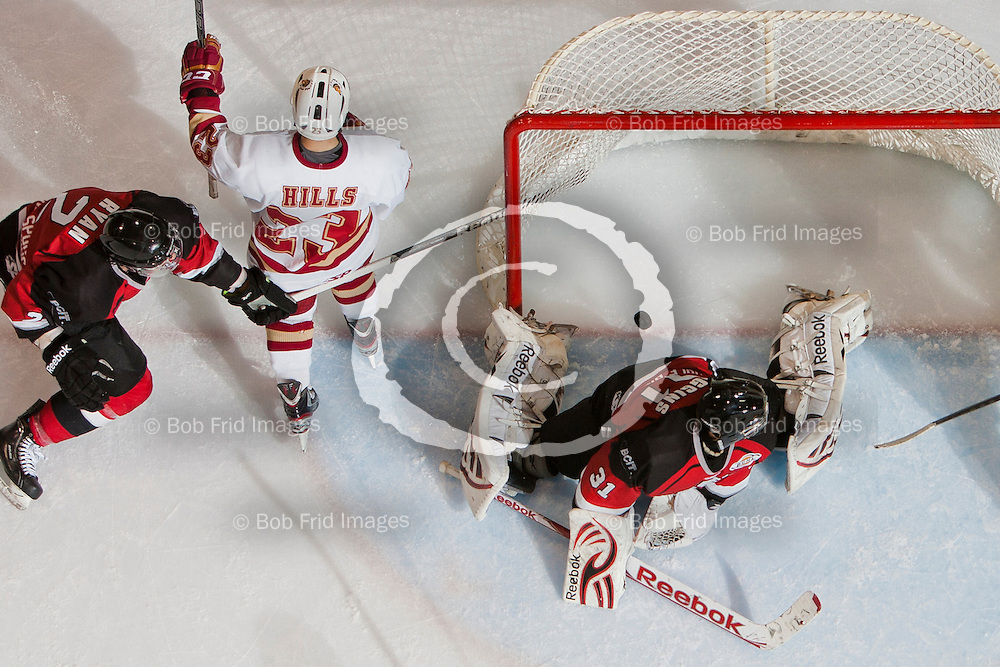 05 December 2012:  Trevor Hills (23) of the Chiefs, goalie Cole Huggins 31 of the Express , Bradley Ryan 2 of the Express, Marc Biega 4 of the Express  during a game between the Chilliwack Chiefs and the Coquitlam Express at  Prospera Centre, Chilliwack, BC.    Final Score: Chilliwack 2  Coquitlam 3   ****(Photo by Bob Frid - All Rights Reserved 2012): mobile: 778-834-2455 : email: bob.frid@shaw.ca ****