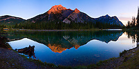 Panoramic image of Mount Lorette reflected in the Lorette Ponds at Sunrise..©2009, Sean Phillips.http://www.Sean-Phillips.com
