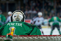 KELOWNA, CANADA - MARCH 18: James Porter #1 of the Kelowna Rockets stands in net against the Vancouver Giants on March 1, 2018 at Prospera Place in Kelowna, British Columbia, Canada.  (Photo by Marissa Baecker/Shoot the Breeze)  *** Local Caption ***