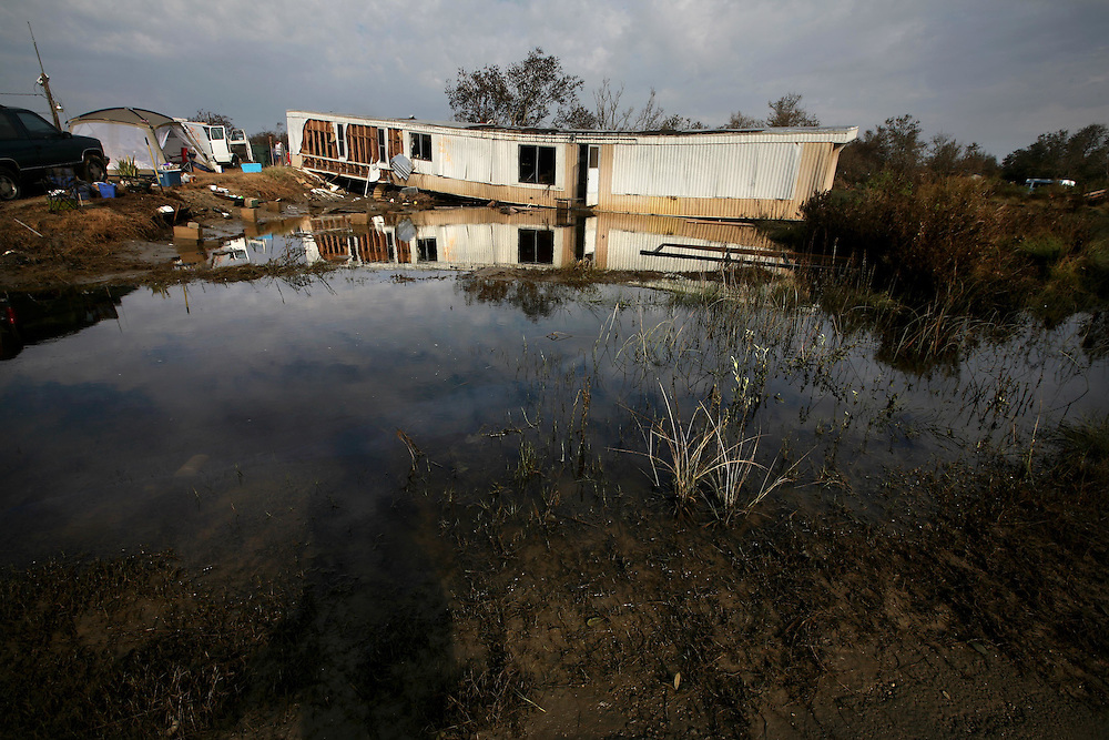 Residents of Sabine Pass, Texas, deal with the aftermath of Hurricane Ike Saturday September 20, 2008.