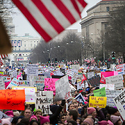 An estimated 500,000 to 1 million people clogged Pennsylvania Ave and surrounding streets and parks during the Women's March on Washington, an event initially expected to draw 200,000, on Saturday, January 21, 2017.  John Boal Photography