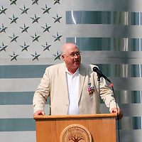 Master of Ceremonies Jay M. Horecky welcomed the crowd at the dedication of the new Friendswood Veterans Memorial that was dedicated today.