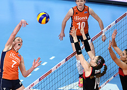 06-01-2016 TUR: European Olympic Qualification Tournament Turkije - Nederland, Ankara<br /> Nederland start sterk en pakt de eerste set / Quinta Steenbergen #7, Lonneke Sloetjes #10, Eda Erdem Dundar #14 of Turkey