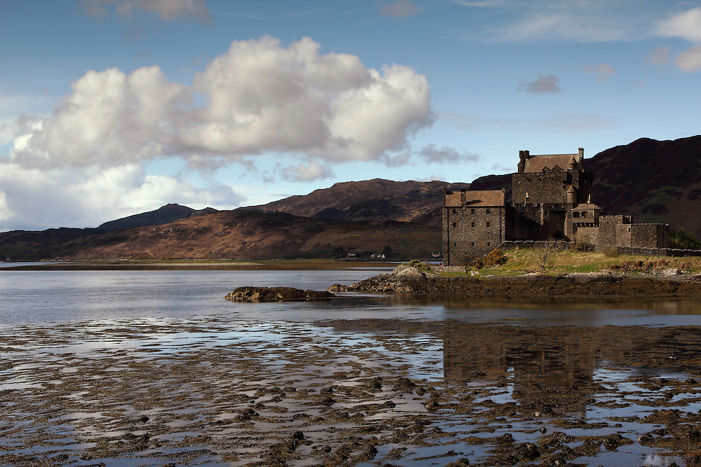 Eileen Donan Castle in the Scottish Highlands, near the village of Dornie and bigger town of Kyle of Lochalsh - the gateway to the Isle of Skye.