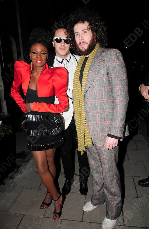 03.DECEMBER.2009 - LONDON<br /> <br /> THE NOISETTES LEAVING THE AFTERPARTY AT CLARIDGES HOTEL AFTER THE PREMIERE OF NEW FILM NINE.<br /> <br /> BYLINE: EDBIMAGEARCHIVE.COM<br /> <br /> *THIS IMAGE IS STRICTLY FOR UK NEWSPAPERS &amp; MAGAZINES ONLY*<br /> *FOR WORLDWIDE SALES &amp; WEB USE PLEASE CONTACT EDBIMAGEARCHIVE-0208 954 5968*